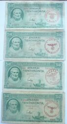 4 X Ww2 Greece Banknotes. 50 Drachma. 1939. 4 Different Stamps In Red.
