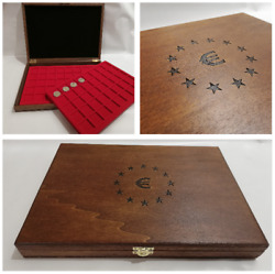 Box Pouch For Coins Collection Euro With 2 Trays Wooden Casket Euro