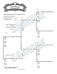 Genealogy Chart Family Tree Single Charts **CHOICES VARY READ DESCRIPTION**
