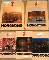 5 Original Vintage 1980's Travel Tourist Posters Hong Kong China Exe Condition