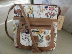 Multisac Multi Compartment Medium Crossbody Tan Trimmed Floral Bag New With Tag $39.95