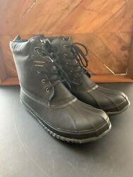 London Fog Mens Brand New Duck Boots Snow Boots Black Leather Mens Size 14