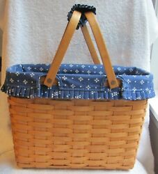 Longaberger Classic Magazine Basket W/ Classic Blue Liner And Handle Gripper