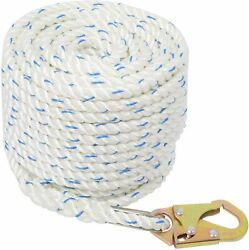 5/8and039and039 100ft Fall Protection Vertical Life Line Rope With Back Splice And Snap Hook