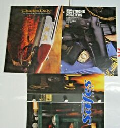 Lot 3 Vintage Brochures Browning Safes Charles Daly Firearms Strong Holsters Gun