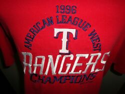 Vtg 1996 Texas Rangers American League West Champions Embroidered Tshirt Adult L