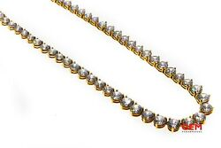 Cubic Zirconia 18k 750 Yellow Gold Graduated CZ Tennis Necklace Chain