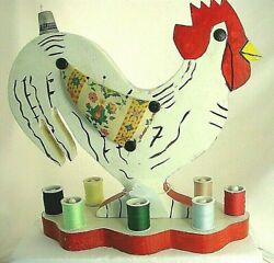 Vintage Folk Art Rooster Sewing Organizer For Spools, Pins, Thimble, Scissors