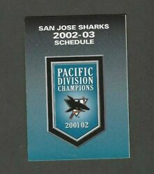 2002-03 San Jose Sharks Pocket Schedule Sponsored By Pepsi And Pizza