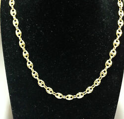 14k Yellow Gold Puffed Anchor Mariner 34 Chain Necklace 6.9 Mm 25 Grams