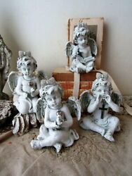 Cherub Statue Grouping Shabby Cottage Chic Painted Distressed Angel Figurines W/
