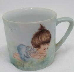 Vintage Hand Painted Coffee Cup/mug Little Girl By Lila Bennett Porcelain 1993