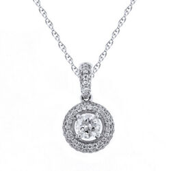 Round Simulated Diamond Halo Pendant With 18 Chain 14k White Gold
