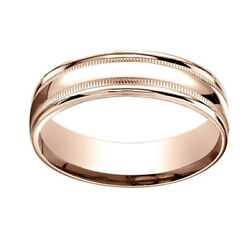 14k Rose Gold 6mm Comfort-fit High Polished With Milgrain Band Ring Sz-10