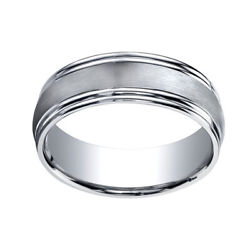 14k White Gold 7.5mm Comfort Fit Satin Finish Double Round Edge Band Ring Sz 7
