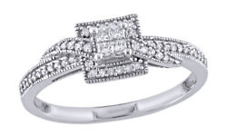 0.25 Cttw Real Diamond Halo Engagement Ring 10k White Gold