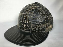Rare Los Angeles Dodgers Mlb Black Leather New Era 59fifty Fitted Hat 7 1/2