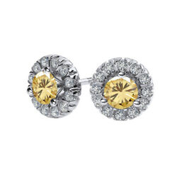0.75 Ct Round Golden Moissanite Sterling Silver Halo Martini Stud Earrings