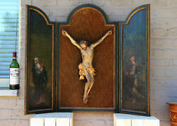 Antique Rare Religious Xxl Wall Triptych Wood Carved Christ Oil Panel Paintings