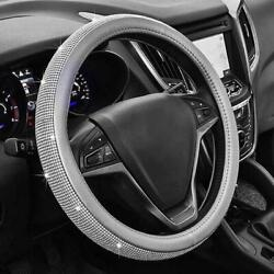 Steering Wheel Cover Gray Diamond Bling Rhinestone Universal Fit 15and039and039