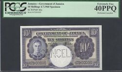 Jamaica 10 Shillings 4-7-1960 P46s Specimen Perforated Extremely Fine