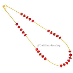 22kt Gold Ruby Stone Bead Chain Women Necklace Chain Custom Size Available 7