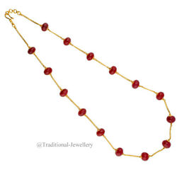 22k Gold Coral Beads Bead Chain Necklace For Women Jewelry Gift Custom Size