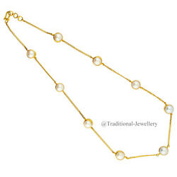 22kt Gold Fresh Water Pearls Chain Women Necklace Chain Custom Size Available