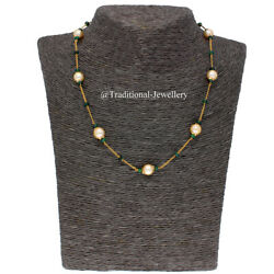 22k Gold Emerald Bead Southesea Pearl Bead Chain Necklace For Women Jewelry Gift