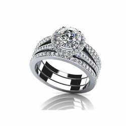 2.17ct Round Simulated Diamond Halo Engagement And Wedding Rings In 14k White Gold