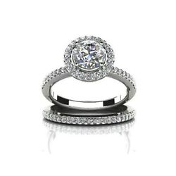 2.53 Ct Round Cut Simulated Diamond 14k Solid Gold Engagement And Wedding Rings