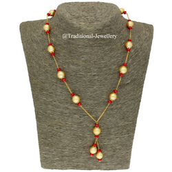 22k Gold Coral Bead And Southsea Beads Bead Chain Necklace For Women Jewelry Gift