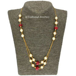 22k Gold Ruby Bead And Southsea Beads Bead Chain Necklace For Women Jewelry 8 Gift