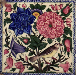 Antique Islamic 17th Century Safavid Tile Known As 7 Color Hand Painted Tiles