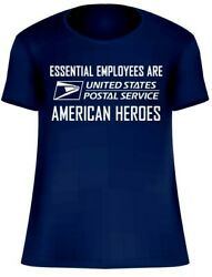 USPS POSTAL POST OFFICE ESSENTIAL EMPLOYEES ARE AMERICAN HEROES  LOGO T-SHIRT