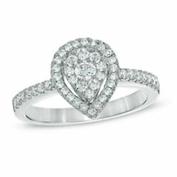 0.50 Cttw Real Diamond Cluster Engagement Ring 10k White Gold