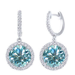 5.75 Ct Blue Moissanite Sterling Silver Hoop Halo Solitaire Dangling Earrings