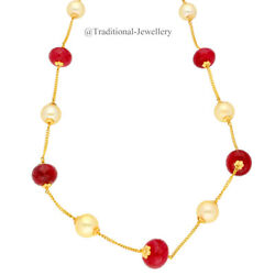 22kt Gold Ruby And Southsea Pearls Chain Women Necklace Chain Custom Size 5