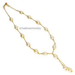 22k Gold Pearl Beads Bead Chain Necklace For Women Jewelry Gift Custom Size 1