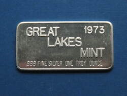 1973 Great Lakes Mint Commercial Bar 1oz Silver Bar Glm1 - 999 Fine  Lot 136