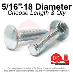 5/16-18 Grade 5 Full Thread Round Head Carriage Bolts Zinc Pick Length And Qty