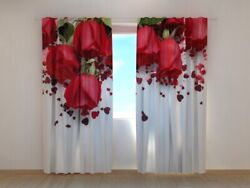 3d Curtain Printed Roses And Hearts Red Roses Love By Wellmira Made To Measure