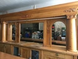 Antique Early 1900's 14' Brunswick Montana Backbar Saloon Brewery Man Cave