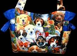 Puppy Dogs Garden Puppies Handmade PurseToteHandbag $32.99