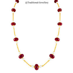 22k Gold Hanging Ruby Beads Pearl Bead Chain Necklace For Women Jewelry Gift 1