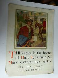Vintage Hart Schaffner Marx Clothes Store Display Sign Paperboard Store Home
