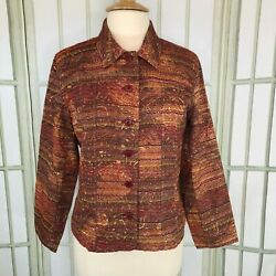 Coldwater Creek Tapestry Jacket Top Button Down Career Size XL Women#x27;s