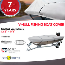 Heavy Duty 100 Solution Dyed Polyester V-hull Fishing Boat Cover 13and0395 - 14and0391