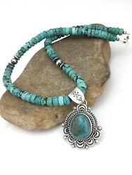 """Native American Navajo Blue Turquoise Sterling Silver Necklace Pendant 22"""" 1274"""