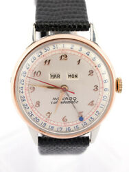 Movado Calendomatic Watch Calendar 1960's Steel Case With 18k Red Gold Cap